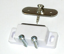2 White Magnetic Cupboard Door Catches +Screws 2kg Pull