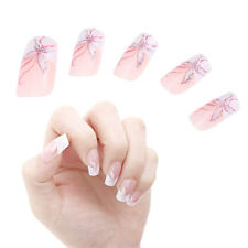 24pcs Butterfly Pink White Manicure French Acrylic False Nail Art Tips