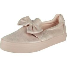 New Womens Ladies Trainers Shimmer Slip On Flat Bow Sneakers Pumps Shoes Size