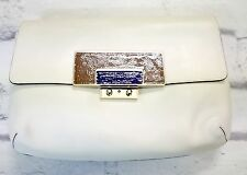 LONDON LOOK: Anya Hindmarch SS09 Ivory Leather Large Clasp Clutch Bag New