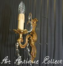 1 French Wall Lamp 1-leaf. Art Nouveau Vintage Brass Chandelier Crystal Glass