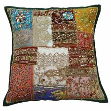 Traditional Handmade Cushion Cover 45 cm Beaded Patchwork Pillow Case Throw 18