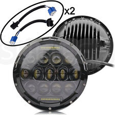 "Pair 7"" INCH 75W LED PHILIPS Headlight Hi/Lo Beam DRL for Jeep Wrangler JK LJ CJ"
