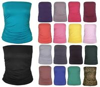 Womens Ladies Sleeveless Boobtube Bandeau Strapless Ruched Vest Top Plus 8-14