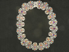 MASSIVE MO-102 MORALES MEXICAN  AMETHYST TURQUOISE CORAL STERLING 925 NECKLACE