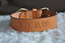 "Leather Dog Custom Collar Personalized FREE Name  2"" Wide"