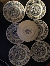 7  Enoch Wedgwood China Blue Heritage  Dessert Plates Made in England