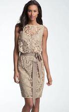 NWT Tadashi Shoji Tulle & Lace Blouson Dress in Sand Size 4