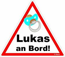 Aufkleber Lukas an bord Sticker Warnung Vorsicht Baby on Board, kfz_224_lukas