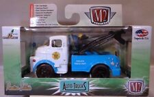 M2 MACHINES 1:64 SCALE DIECAST BLUE AND WHITE 1957 DODGE COE POLICE TOW TRUCK