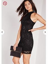 Missguided Black High Neck Lace Bodycon Dress. Size 8.