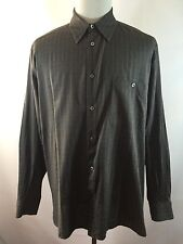 Mens Ermenegildo Zegna Italy XL Grey Checks Long Sleeve Shirt Lightweight
