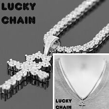 "925 STERLING SILVER ICED OUT ANKH CROSS PENDANT 20""TENNIS CHAIN 32g PC53"