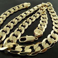 FSA614 GENUINE REAL 18K YELLOW G/F GOLD MENS HEAVY SOLID CURB NECKLACE CHAIN