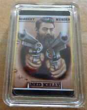 Ned Kelly Australia Robbery & Murder 1 oz .gold plated Bar Coin