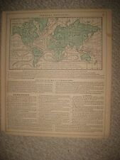 ANTIQUE 1864 WORLD ISOTHERMAL LINES OCEAN CURRENT MAP & OUTLINE CONTINENT MAP NR
