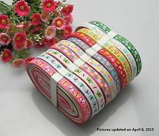 "20yards 3/8"" mixed 10 Style sewing satin grosgrain ribbon lot wholesale A30.p"