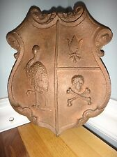 Antique Odd Fellows Door Plaquard Shield Skull Crossbones Bronze not Cast Iron