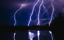 Framed Print - Purple Lighting Storm (Picture Poster Whether Art Electrical)