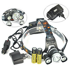 BORUIT 12000LM 3x XML T6+2R5 LED Headlamp Headlight Torch USB Lamp+Charger+18650