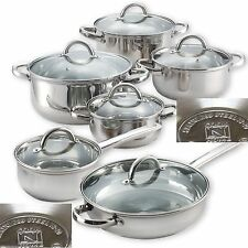 Stainless Steel Cookware Set 100% Authentic 12-PC Kitchen Cooking Pots and Pans