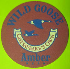 WILD GOOSE AMBER Maroon Beer COASTER Mat with GEESE & CRABS Easton MARYLAND 1991