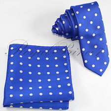 Men's 2.25 Inches Skinny Slim Polka Dots Neck tie and & Pocket Square Hankie Set