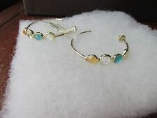 Ippolita earrings sterling silver Tuscany crystal stones pierced hoop new