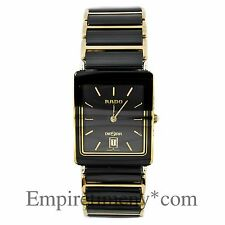 RADO DIASTAR HIGH-TECH TWO TONE CERAMIC AND GOLD PLATED DATE QUARTZ MENS WATCH