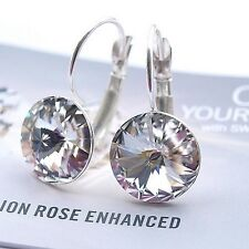 Silver Plated Earrings made with Swarovski Crystals 12mm Rivoli