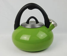 Calphalon Pull N Pour Enamel Steel Whistling Tea Kettle 2 quart Green Apple VG+