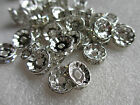 100 Rhinestone Silver Plated Rhinestone Spacer Crystal Beads 10mm Crafts Making