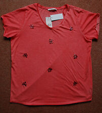 New Sz 22 Orangy-Red-Coral Marl Flower Floral Crystal Motif T shirt top Gift