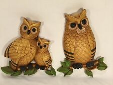 HOMECO - OWL WALL HANGING DECOR - PLAQUE - VINTAGE - SET OF 2 - GREAT CONDITION