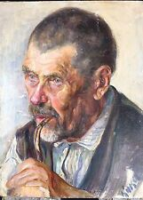 "Original Russine Antique Oil Painting ""Man "" artist M. Kikoin 1910-20"