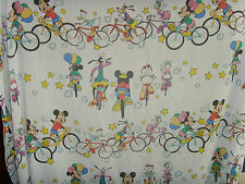 Vintage children's novelty Mickey Mouse Goofy Minnie Mouse on bikes Twin sheets