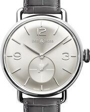 Bell and Ross Argentium WW1 Silver Dial Mens Hand Wound Watch BRWW1-ME-AG-SI-SC