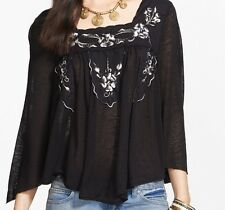 Free People Bed of Roses Embroidered Peasant Top Tunic Shirt in Black NWT $98 S
