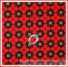 BonEful Fabric FQ Cotton Quilt Orange Brown Red FLOWER Yellow VTG Retro Dot Red