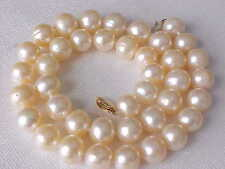 """17""""  10.5MM ROUND GENUINE PEACH  PEARL NECKLACE SOLID 14K YELLOW GOLD CLASP #3"""