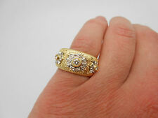 Stunning Italy Vintage 750 18k Solid Gold Natural Diamond Ring Band Size 7.5