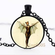Bat Girl necklace photo Glass Dome black Chain Pendant Necklace wholesale