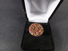 Effy Sterling Silver Multi-Sapphire Red, Yellow, Orange Pave Ring