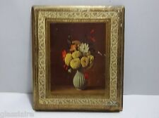 Vintage Italian Florentine TOLEWARE Wall Plaque Picture FLOWERS 7.25""