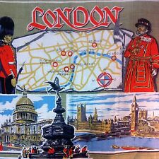 Irish Linen Tea Towel Map London Famous Sites 20x31 Beefeater Thames Westminster