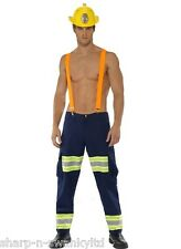 Mens Sexy Fireman Firefighter Emergency Services Fancy Dress Costume Outfit M