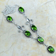 "BEAUTIFUL NEW GENUINE FACETED PERIDOT 925 SILVER  FLEUR DE LIS NECKLACE 20"" HOT!"