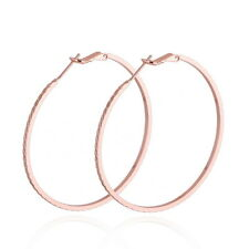 1Pair Big Hoop Earrings 18K Rose Gold Plated Women Jewelry
