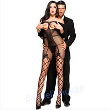 Sexy open bust fishnet bodystocking crotchless catsuit bow tights one size/6-14