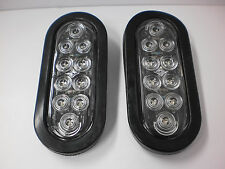 """2 - 6"""" Red Clear 10 LED Light Oval Stop Turn Tail Grommet Mount Kit"""